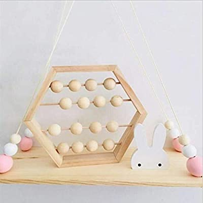 LPER Puzzles Toys for Kids, Puzzle Toy Natural Wooden Abacus Beads Craft Baby Early Learning Educational Toys Baby Room Decor(Wood White Silver) (Color : Wood Color): Electronics