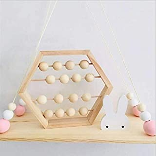 LPER Puzzles Toys for Kids, Puzzle Toy Natural Wooden Abacus Beads Craft Baby Early Learning Educational Toys Baby Room Decor(Wood White Silver) (Color : Wood Color)