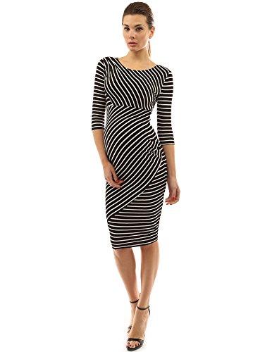 PattyBoutik Mama Striped Elbow Sleeve Maternity Dress (Black and White M)