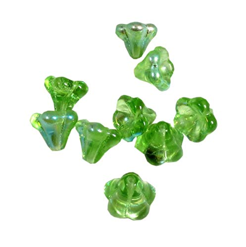 Czech Glass Beads Baby Bell Flowers Tulip Cone Caps Big 11x13 mm 10 pcs Peridot AB Color