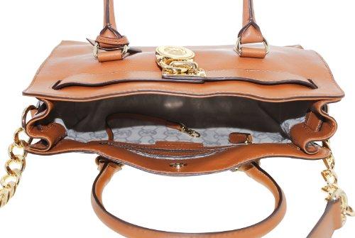 Michael Kors Hamilton East West Luggage Brown Leather Satchel