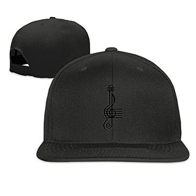Treble Clef and Staff with Guitar Plain Adjustable Snapback Hats Men's Women's Baseball Caps