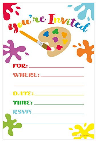 (Art Painting Birthday Party Invitations - Fill In Style (20 Count) With)