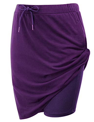 Women's Athletic Skort Side Zip Stretch Knit Skort with Pockets(L,Purple)