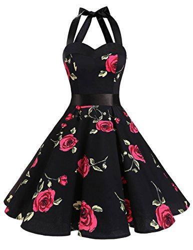 Frock Skirt (DRESSTELLS Vintage 1950s Rockabilly Polka Dots Audrey Dress Retro Cocktail Dress Red Flower L)
