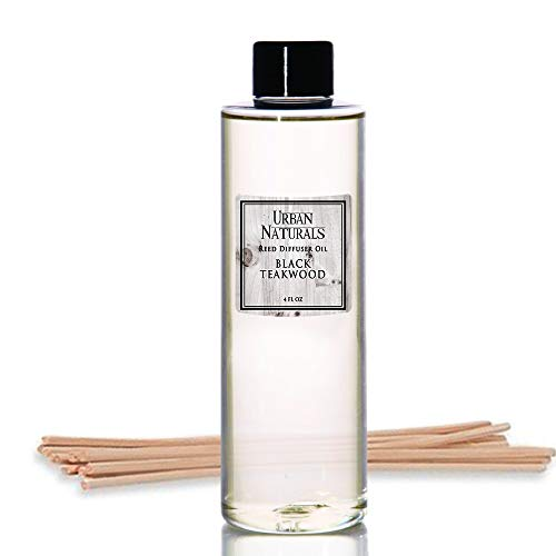 Urban Naturals Black Teakwood Reed Diffuser Oil and Sticks Set Refill | Includes a Free Set of Reed Sticks! Fresh Herbs, Birch, Pear, Sage & Amber Fragrance Notes | 4 oz.