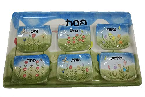 Handmade Rectangle Passover Seder Plate with Dishes, Floral Design - Made in Israel