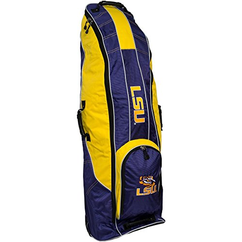 Golf Lsu Bag - Team Golf NCAA LSU Tigers Travel Golf Bag, High-Impact Plastic Wheelbase, Smooth & Quite Transport, Includes Built-in Shoe Bag, Internal Padding, & ID Card Holder