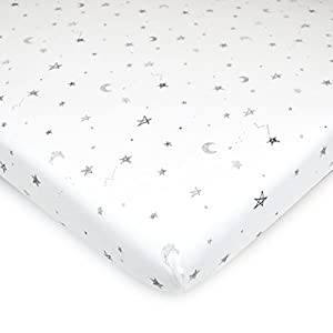 American Baby Company 3 Piece 100% Natural Cotton Value Jersey Knit Fitted Portable/Mini-Crib Sheet, Grey Star/Zigzag, 24″ x 38″ x 5″, Soft Breathable, for Boys and Girls