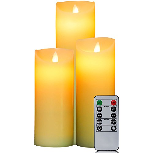 HIFROM LED Flameless Candles Set with Remote Control Timer Real Wax Pillars AAA Battery Operated Realistic Flickering Candles (7 Inch, 8 Inch, 9 Inch) - Set of 3 (Led Pillar Triple)