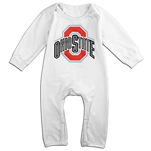 KIDDOS Baby Infant Romper Ohio State University Long Sleeve Jumpsuit Costume,White 18 Months