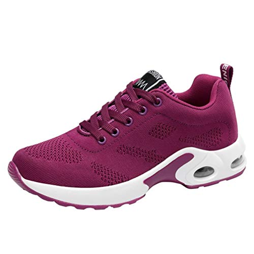 UOKNICE Breathable Shoe Flying Woven Sports Shoes Casual Gym Running Shoes Student Mesh Shoe(Hot Pink, TCN 39(US 7))