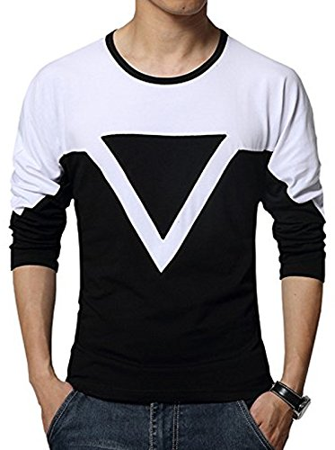 EYEBOGLER Mens s Solid Regular Fit T-Shirt (S-TD-BLWH Black-White Small 00b760167c