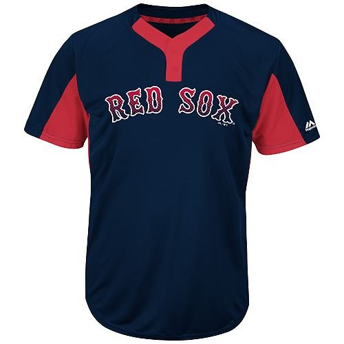 Blank Back Adult Large Boston Red Sox 2-Button Placket Cool-Base MLB Licensed (Boston Red Sox Blank)