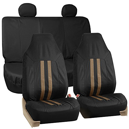 FH GROUP FH-FB112114 Full Set Waterproof Oxford Car Seat Covers Tan / Black Color - Fit Most Car, Truck, Suv, or Van