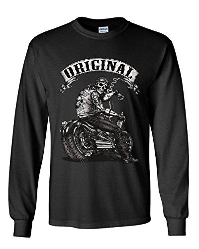 Original Biker Skull Long Sleeve T-Shirt Ride or Die Route 66 Motorcycle MC Tee Black - 66 Die