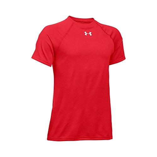 (Under Armour Boys' Locker Short Sleeve T-Shirt, Red (600)/White, Youth Medium)
