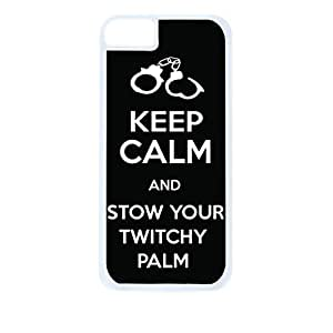 Keep Calm and Stow your Twitchy Palm-Black and White-Hard White Plastic Snap - On Case-Apple Iphone 5C Only - Great Quality!