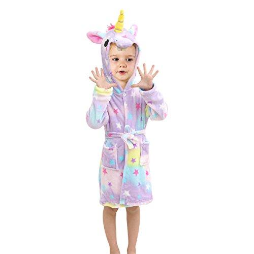 Toddlers/kids Unicorn Hooded Robe Soft Fleece Bathrobe Children Pajamas Baby Plush Robe (3T, ()