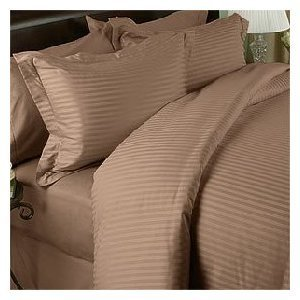2000 Thread Count 100% Egyptian Quality Stripe Taupe Queen Sheet Sets by Sam Linens