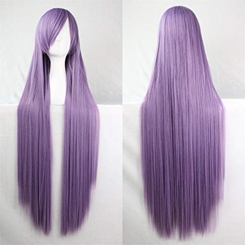 39'' Womens Long Straight Synthetic Lilac Purple Wig Girl's Halloween Cosplay Party Wig