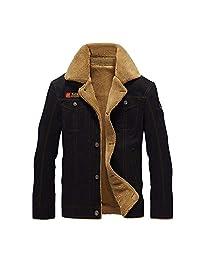 OGOUGUAN Men's Casual Cotton Military Jacket with Lapel Add Velvet