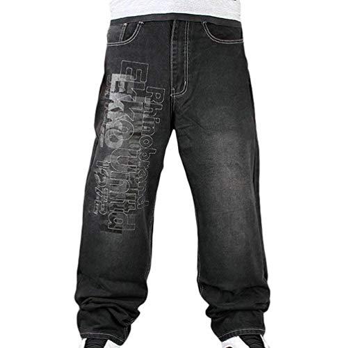 Da Jeans Distrutti Hop Stile Stretch Uomo Hip Pantaloni Ballo Semplice Nere Popolari Urban Skinny Lanceyy Nero qwCYdq
