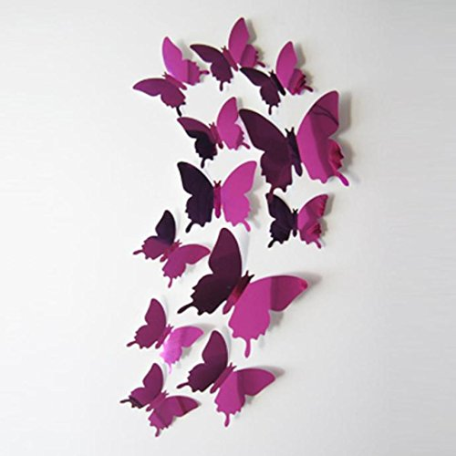 Luweki Wall Stickers Decal Butterfly 3D Mirror Wall Art Home Decors Wallpaper (Hot Pink)