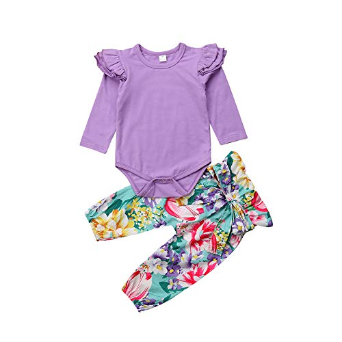(Baby Girls Flying Long Sleeve Romper Tops Denim Jeans High Waist Pants Bow Tie Waistband 2 PCS Outfits (12-18 Months, Purple) )
