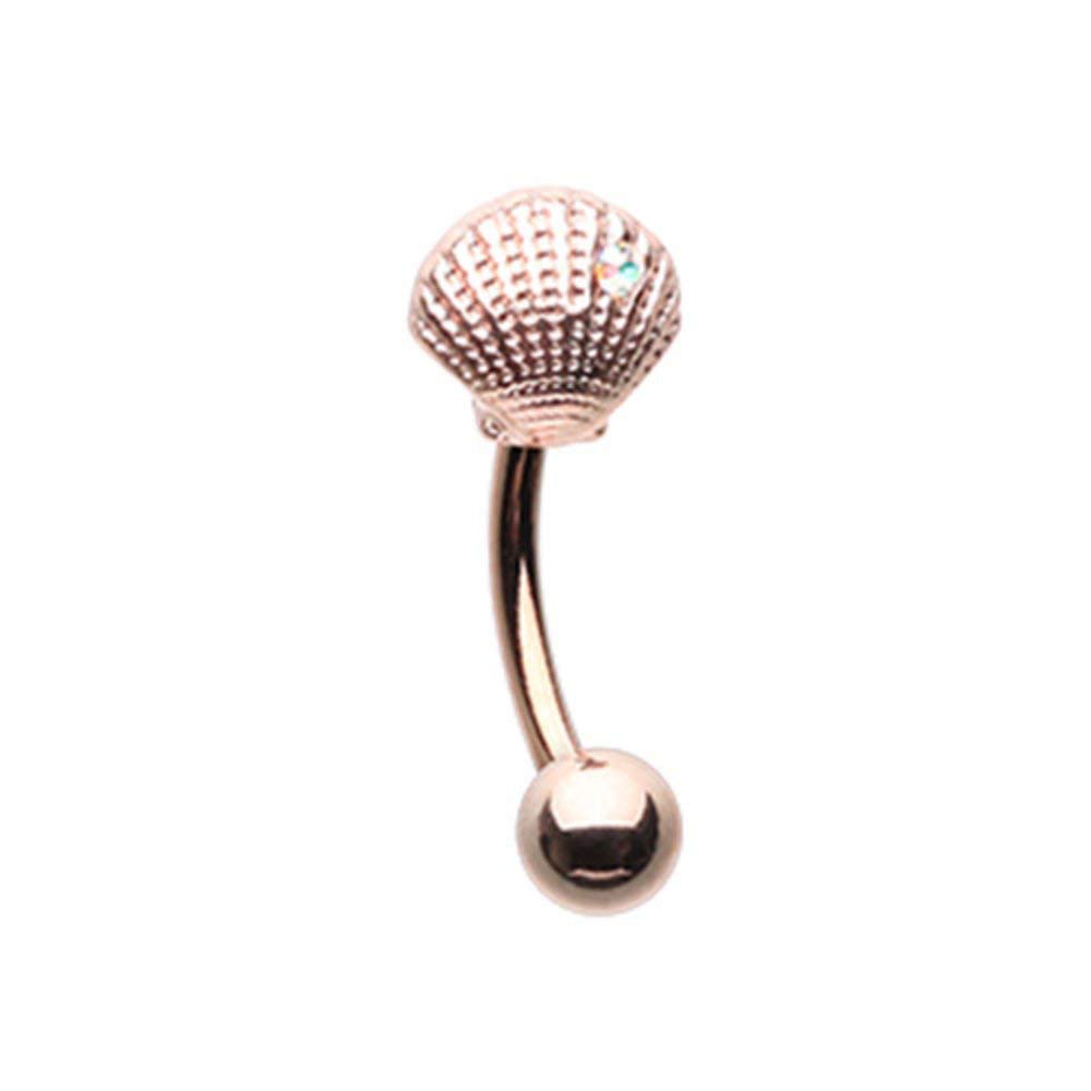 Rose Gold Ariels Seashell Curved Barbell Eyebrow Ring