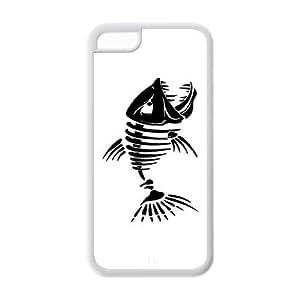 LJF phone case Custom Fishbone Unique Iphone 5C Rubber TPU cover