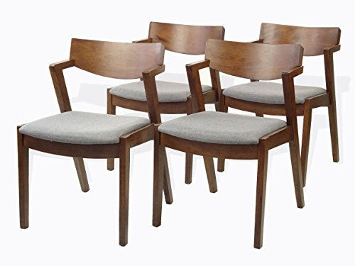 SunBear Furniture Tracy Dining Kitchen Modern Armchairs Set of 4 Solid Wood w/Padded Seat Medium Brown