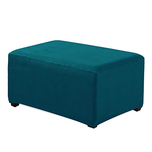 CHUN YI Oversized Ottoman Slipcover Jacquard Polyester Stretch Fabric Rectangle Folding Storage Stool Ottoman Cover Furniture Protector for Living Room (Oversize, Teal)