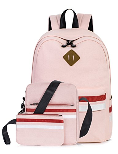 Leaper Cute Laptop Backpack School Bookbags Travel Bags Shoulder Bag Pencil Cases Pink 3PCS (Best Back To School Laptop)