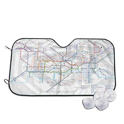 London Underground Map Tube Lines Windshield Sun Shade Sunshades Universal Fit Car Keep Vehicle Cool Protector Prevent from Sun Heat & Glare M