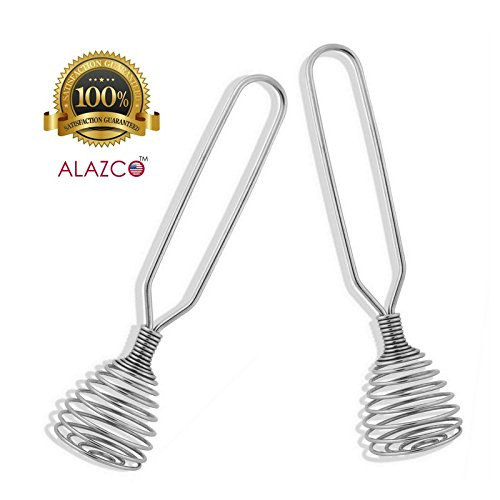 Spring Whisk (2 ALAZCO Stainless Steel Spring Coil Whisk - Mixing, Blending Beating Eggs Gravy Sauce Chocolate Cream Yogurt Baking & Cooking - PREMIUM TAIWAN)
