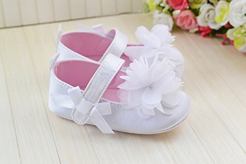Girls Prewalker Toddler Cute Flower Bowtie Antiskid Shoes Sneaker (12-18 M, White)