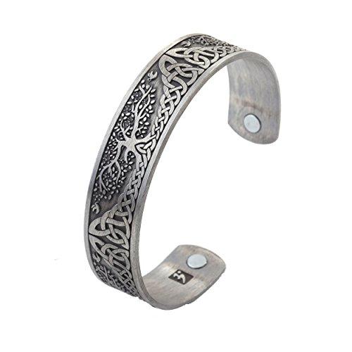 YGGDRASIL World Tree of Life Bracelet Health Care Stainless Steel Cuff Bangle Bracelet for Men (antique silver)