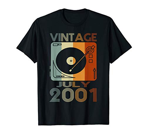 Retro July 2001 Tshirt 18th Birthday Gift 18 years old Tee]()