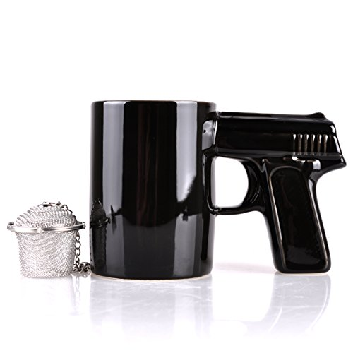 UCEC-The-Gun-Mug-Coffee-and-Tea-cup-Ceramic-Drink-Holder-and-Mr-Tea-Infuser