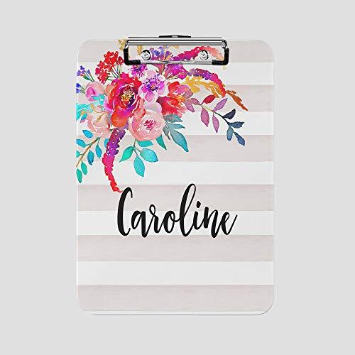 Personalized Clipboard - Custom Designs (Striped Floral Drop)