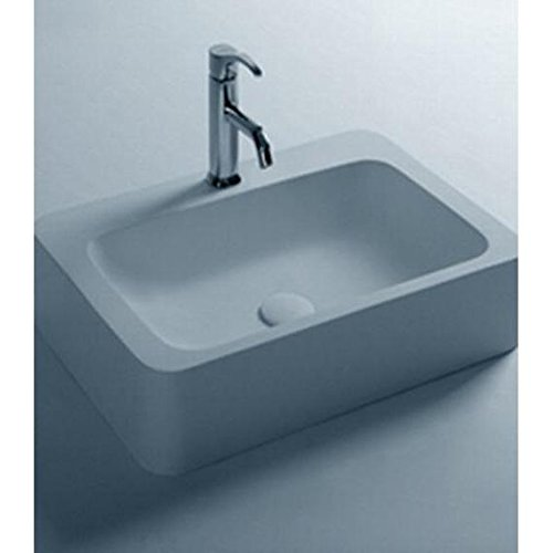 ID Mood Rectangular Solid Surface Vessel Sink Bowl Above Counter Sink Lavatory by ID Bath Collection