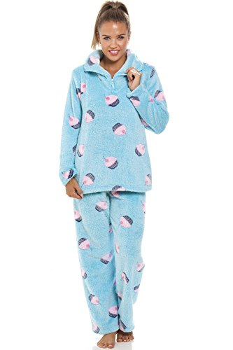 Camille Supersoft Fleece Aqua Blue Cupcake Pajama Set 14/16 Blue at Amazon Womens Clothing store: