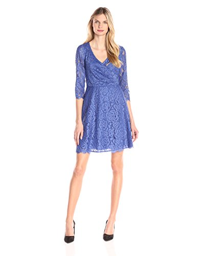 Adrianna Papell Women's Pleated Wrap A-Line Dress, Marine, 4