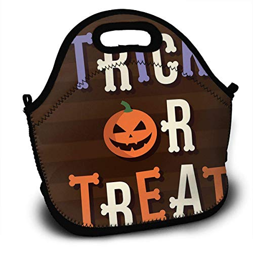 Trick Or Treat Halloween Horror Insulated Neoprene Lunch Bag/Lunch Box/Lunch Tote/Picnic Bags Cooler Warm Pouch Lightweight Handbag Gourmet Food Containers for Women,Men,Girls,Boys,Kids ()