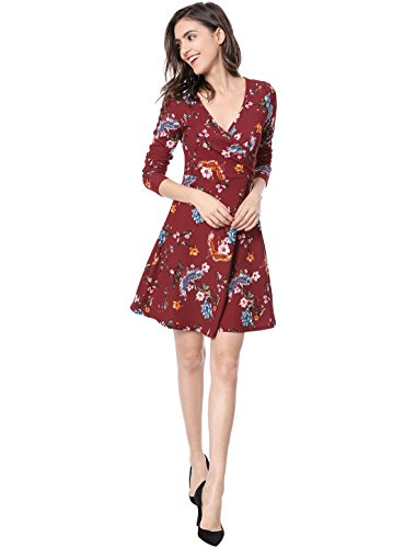 Print Red Wrap Mini Sleeve Neck Women's Allegra K Long Dress V Floral Birds Swing qgSUWYfW
