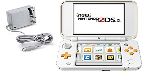 (2 Items): Nintendo New 2DS XL - White + Orange and Tomee AC Adapter ()