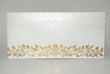 Gold Border Pack of 25 Asian Indian Money Gift Envelopes White