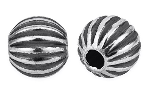 50 Pieces Oxidized Sterling Silver Corrugated Round Beads 4 ()