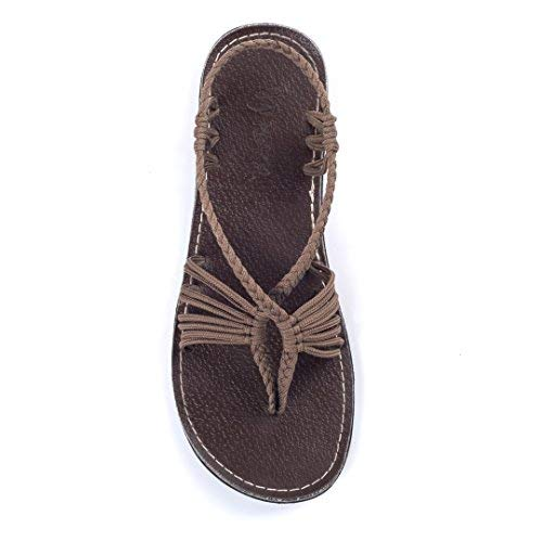 Plaka Flat Summer Sandals for Women Taupe 10 Seashell